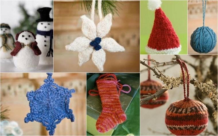 adornos navidenos tejidos lana estrella bolas ideas