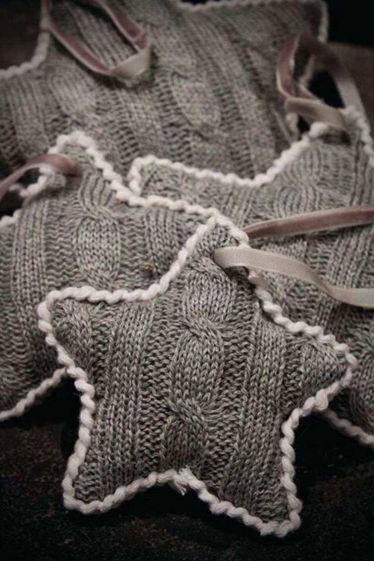 adornos navidenos tejidos lana estrellas gris ideas