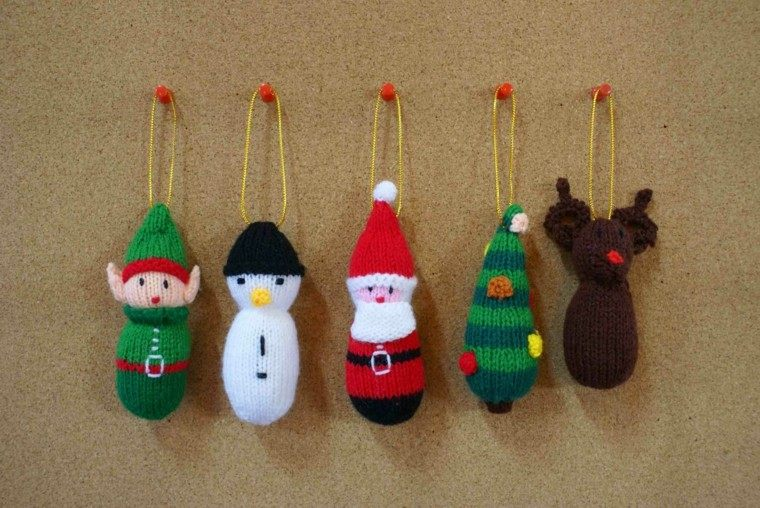 adornos navideños tejidos lana papa noel reno arbol ideas