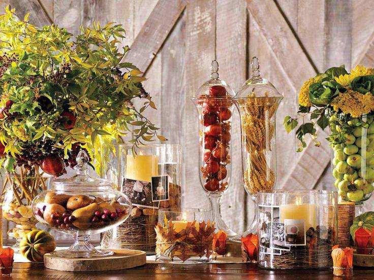 adornos otoño cocina tradicional mesa