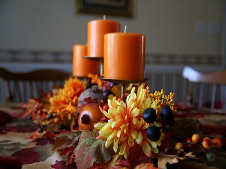 centro mesa velas naranja