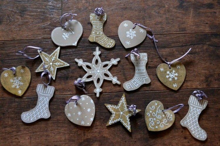 adornos sencillos carton madera navidad