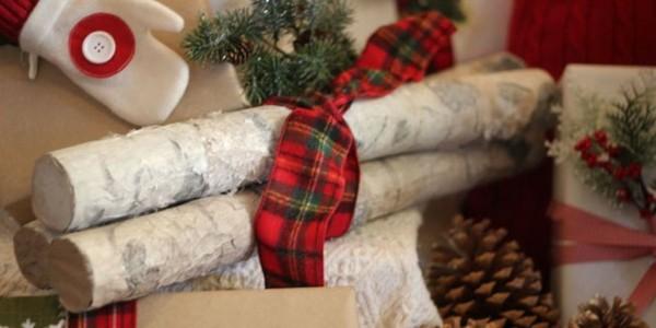 adornos navidad troncos ramas madera
