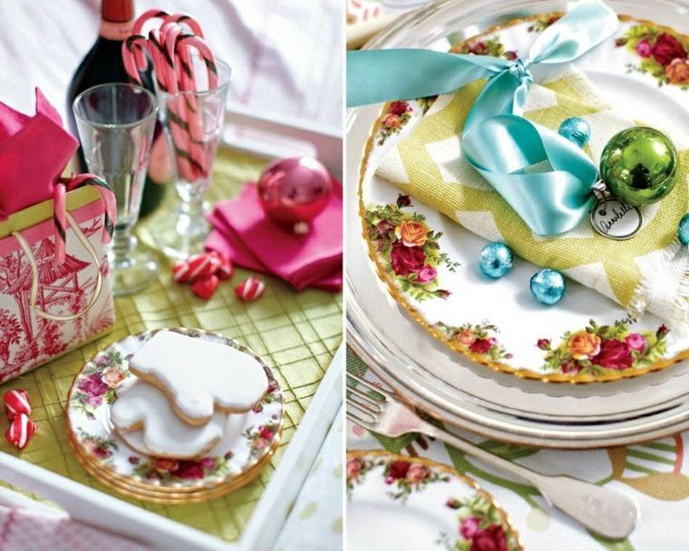adornos de navidad platos mesa