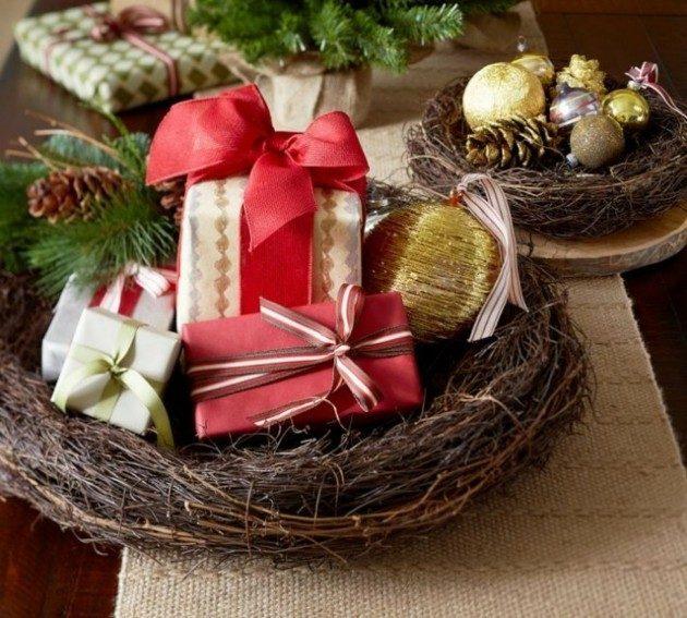 adornos mesa exterior cesto regalos