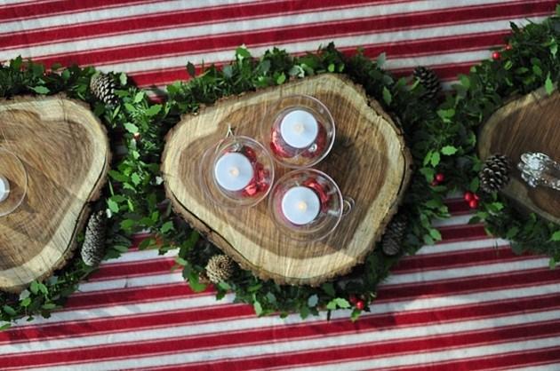 Mesas de jardin con decoraci n navide a 25 ideas for Adornos de navidad para jardin