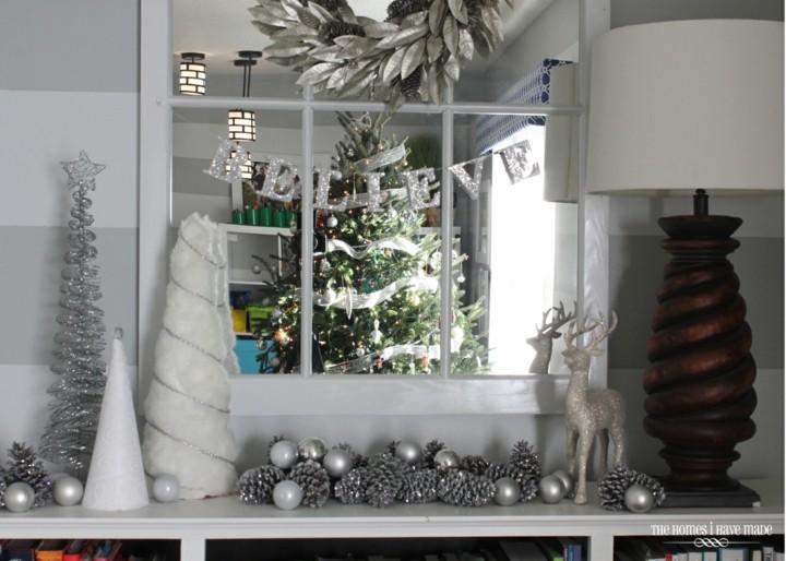 adornos navideños color blancos plata