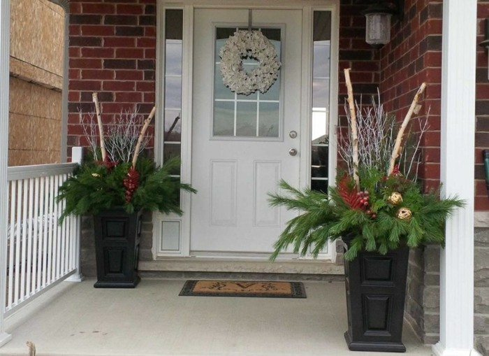Adornos navide os r sticos para exterior 50 ideas geniales for Adorno navidad puerta entrada