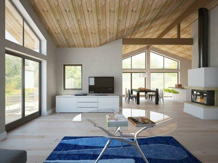 alfombra azul casa techo abovedado salon moderno