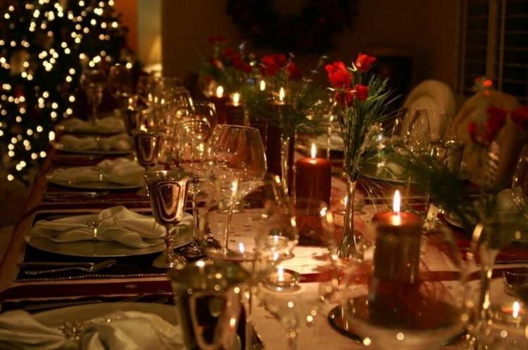 arbol colores luces platos velas