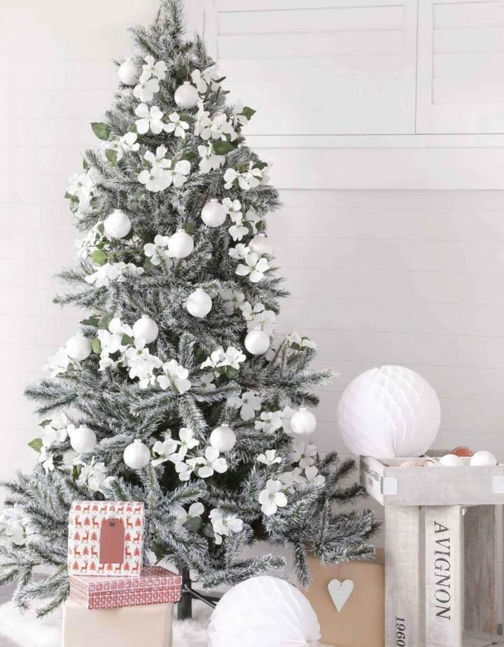 arbol blanca navidad adornos blancos