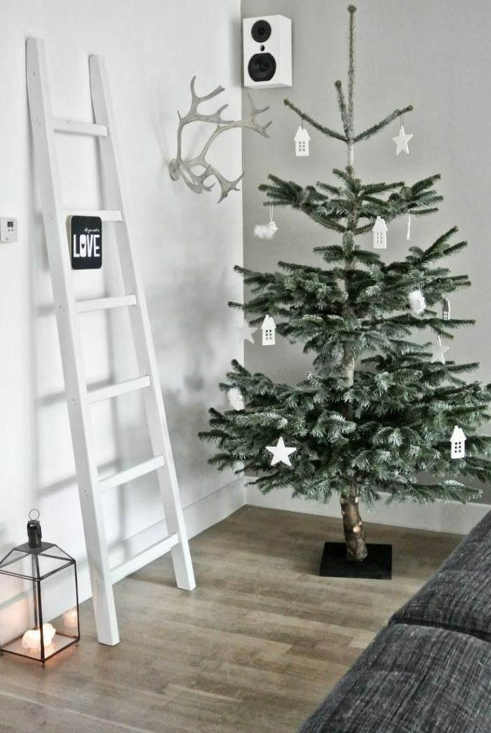 arbol navidad adornos blancos carton