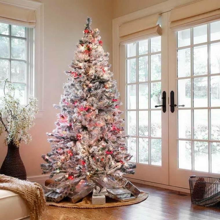 arbol navidad adornos blancos luces