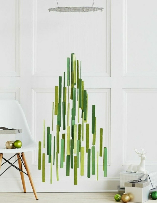 arbol navidad pintura verde pared