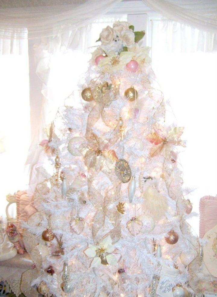 arbol navidad color blanco adornos