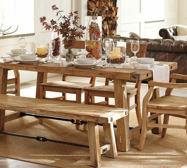 arbol ramas decorar casa otono bancos madera sillas ideas