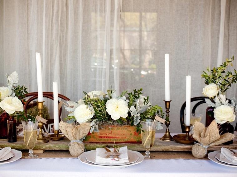 arbol ramas decorar casa otono madera flores blancas ideas