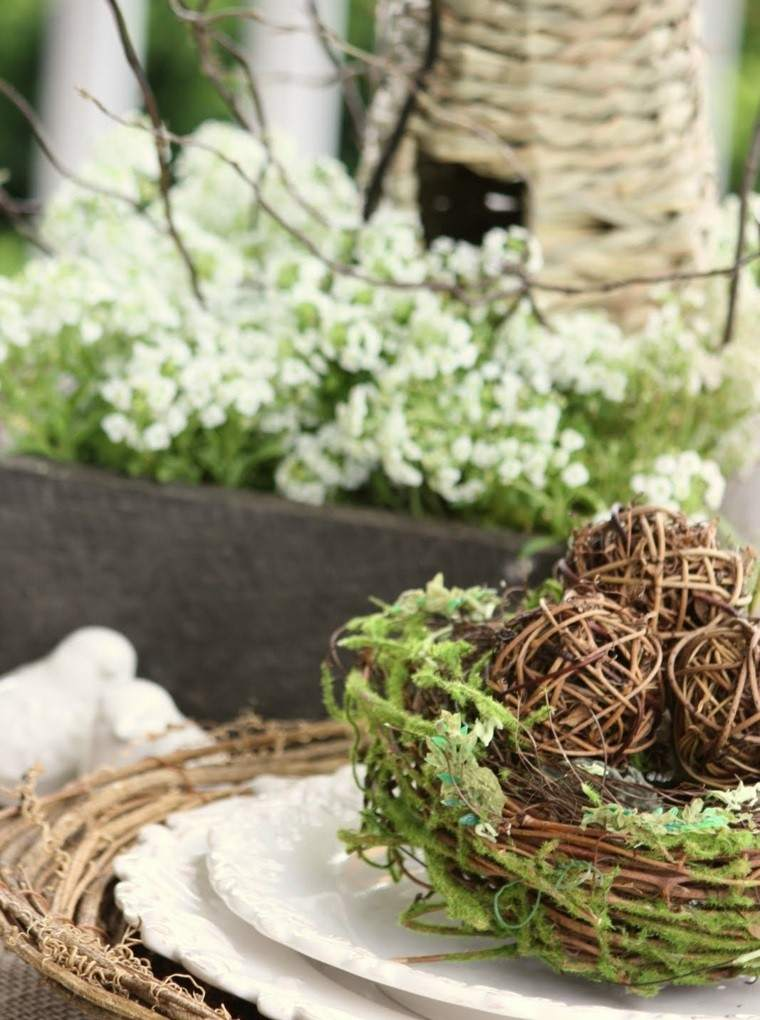 arbol ramas decorar casa otono plato ramas madera bolas mesa ideas