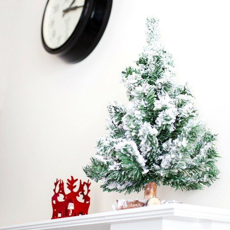 arboles de navidad decoración mesa blanco ideas
