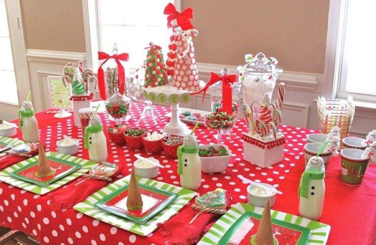 arboles de navidad decoración mesa caramelos ideas