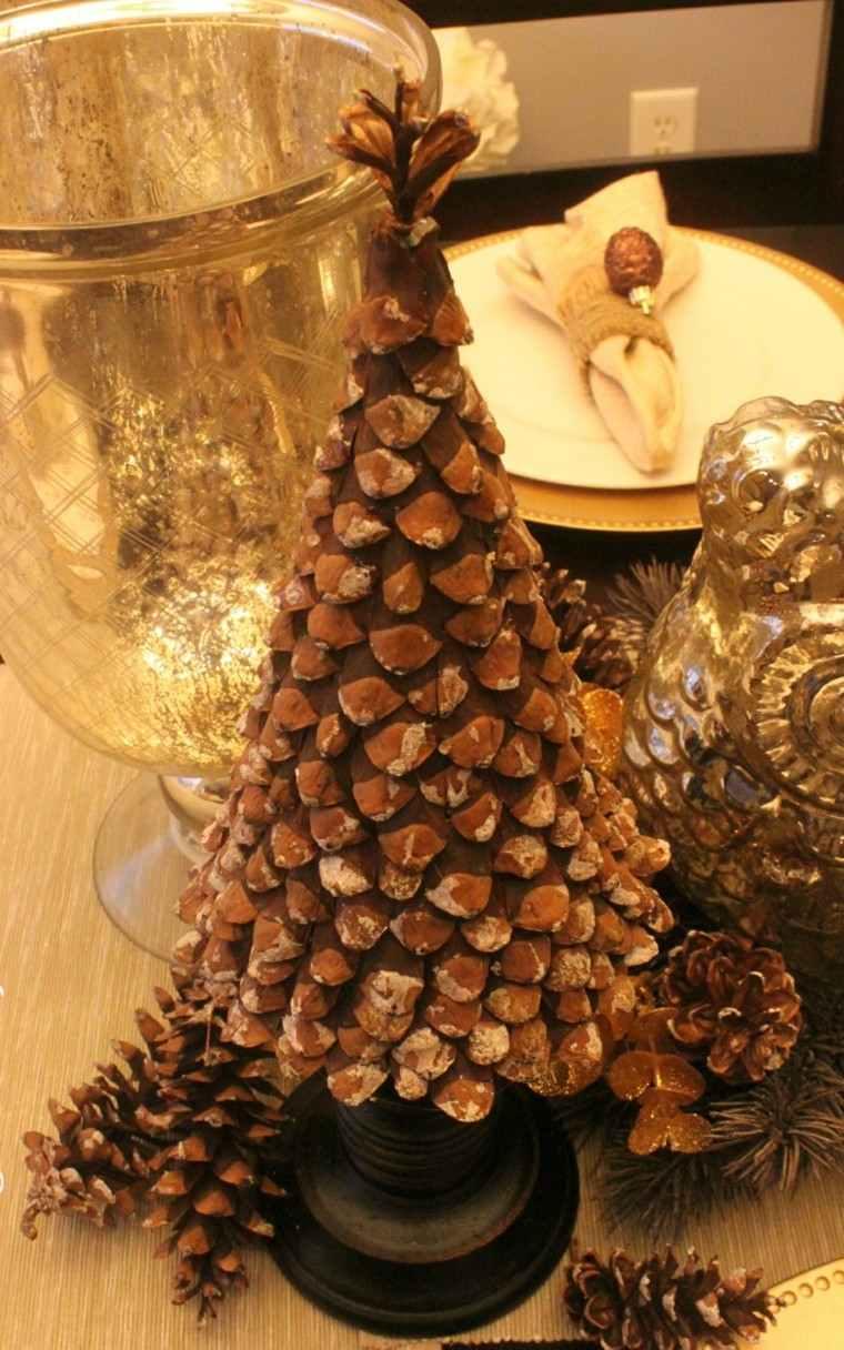 arboles de navidad decoración mesa pina ideas