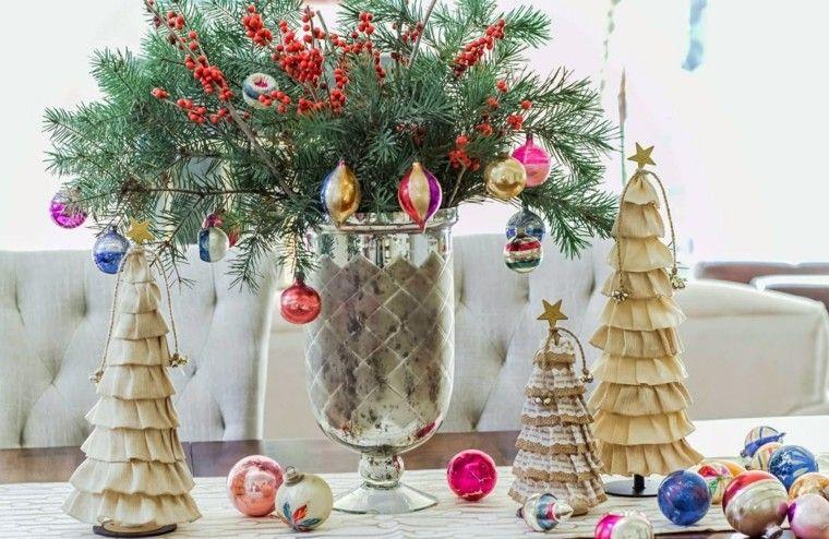 arboles de navidad decoración mesa tela ideas