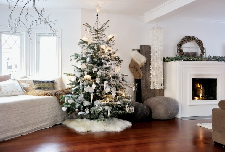 arboles de navidad ideas adornos navidenos chimenea moderno