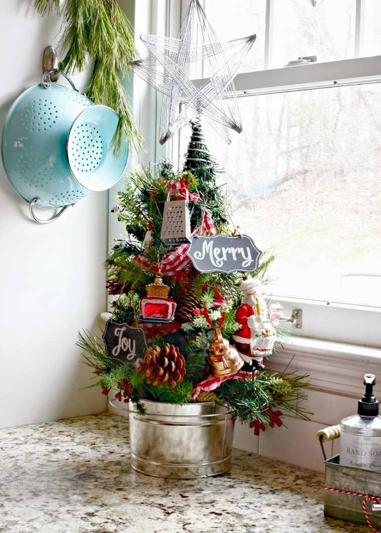 arboles navidad decoracion mesa cocina ideas
