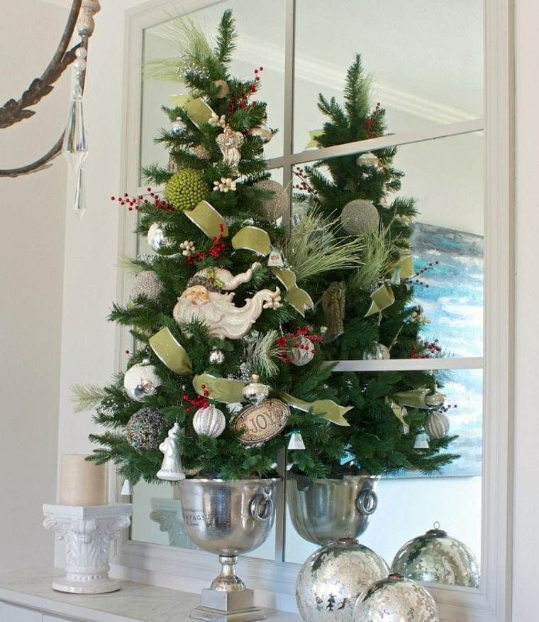 arboles navidad decoracion mesa maceta plata ideas