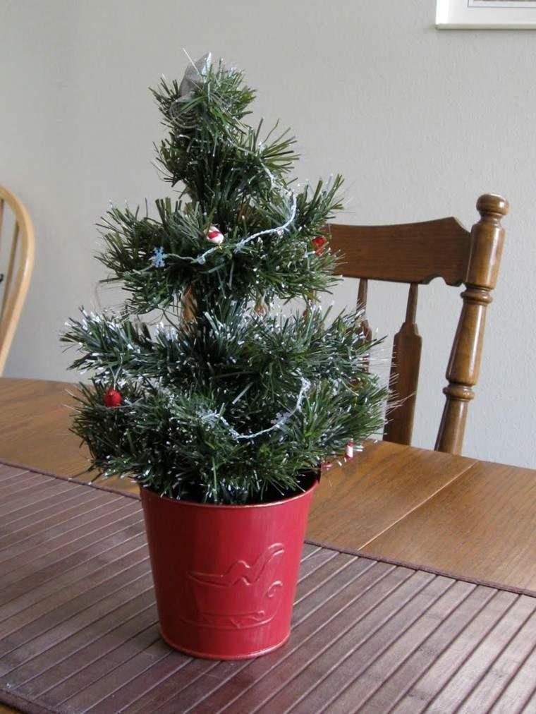 arboles navidad decoracion mesa maceta roja ideas