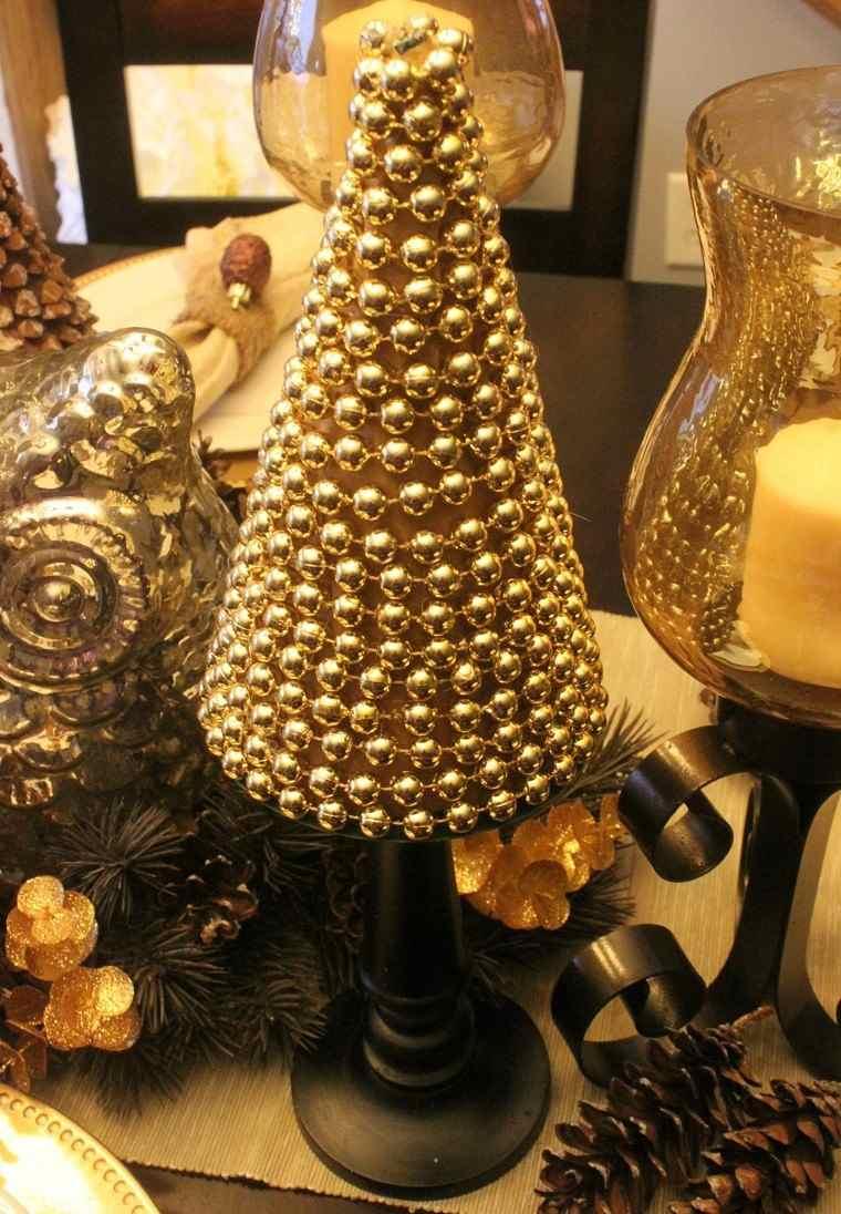 arboles navidad decoracion mesa oro ideas