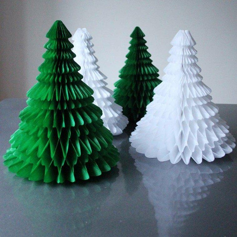 arboles navidad decoracion mesa papel colores ideas
