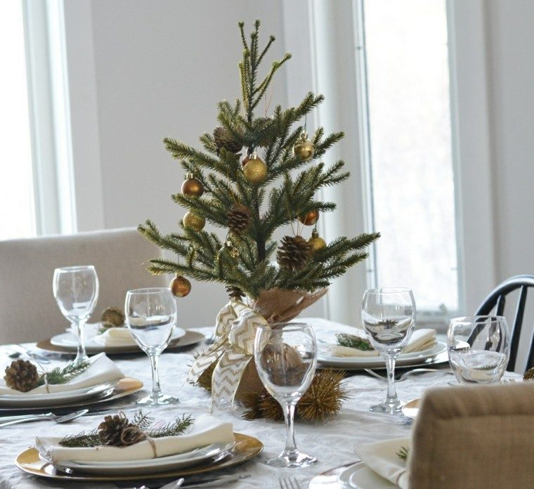 arboles navidad decoracion mesa simple oro ideas