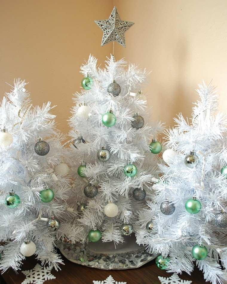 arboles navidad decoracion mesa tres blancos ideas