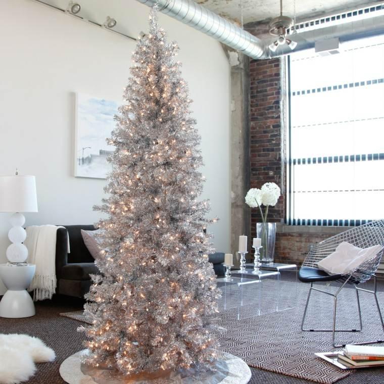 arboles navidad ideas adornos navidenos color plata moderno