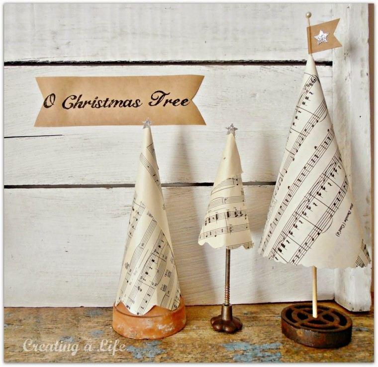 arboles navidad papel partitura conos