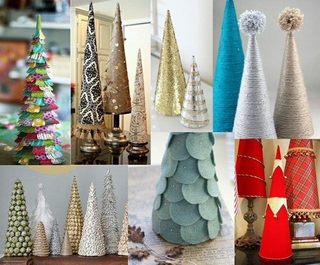 arboles navidad diferentes materiales telas