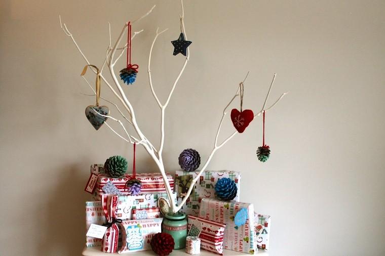 arboles ramas decorar casa otono blanca pinas adornos ideas