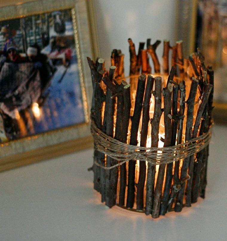 arboles ramas decorar casa otono candelabro vela ideas