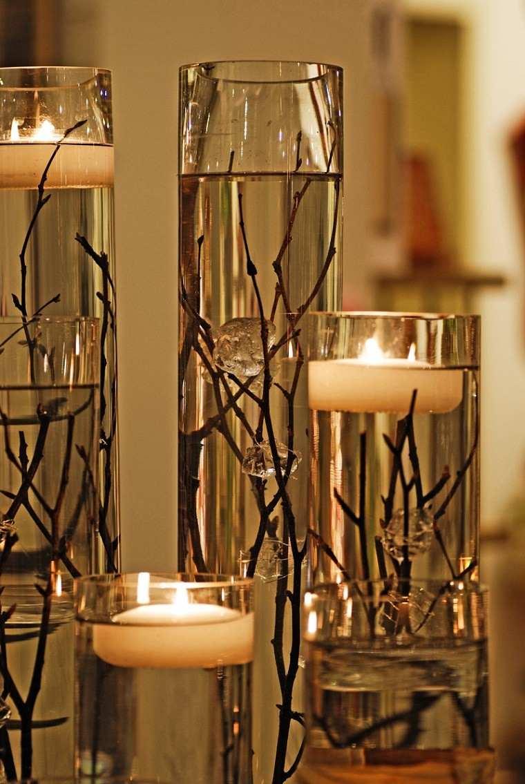 arboles ramas decorar casa otono candelabros agua velas ideas