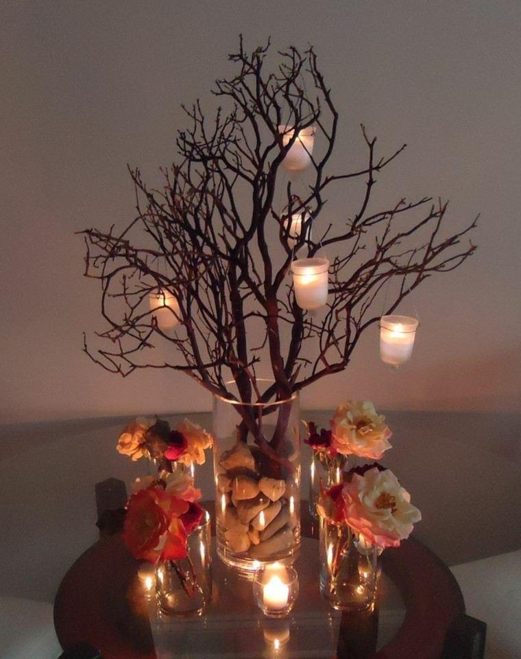 arboles ramas decorar casa otono candelabros piedras ideas