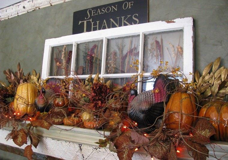 arboles ramas decorar casa otono chimenea calabazas ideas