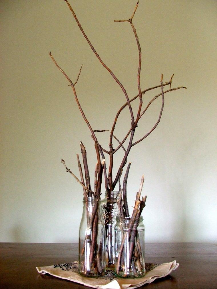 arbol ramas decorar casa otono tarros cristal ideas