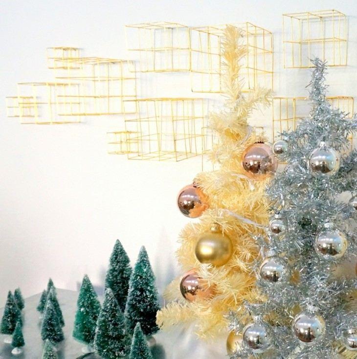arbolitos navidad color oro plata