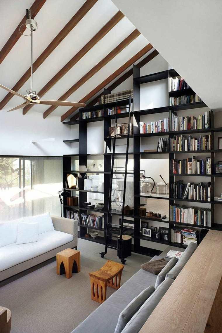 arquitectura casas techo abovedado moderno estanteria negra ideas