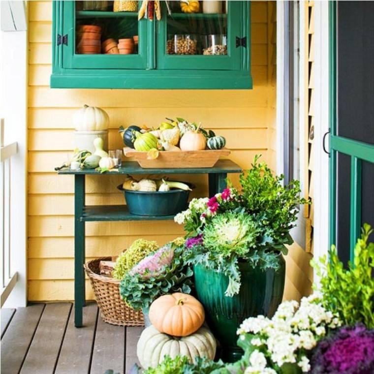atractivo colorido balcon madera verde