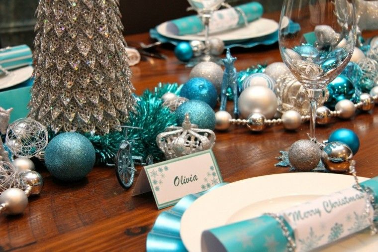 azul y plata ideas decoracion arboles madera