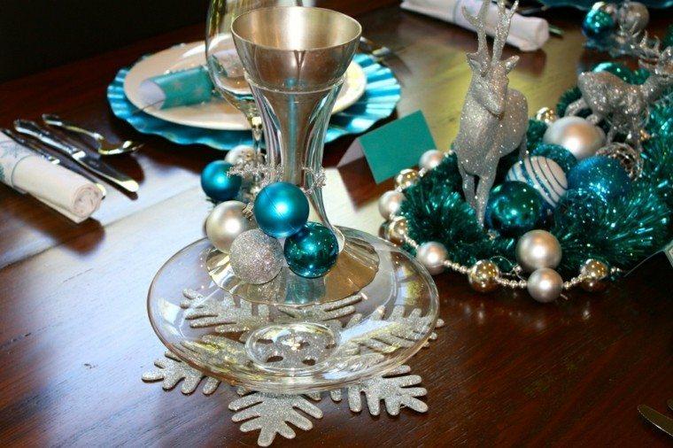 azul y plata ideas decoracion copas nieve