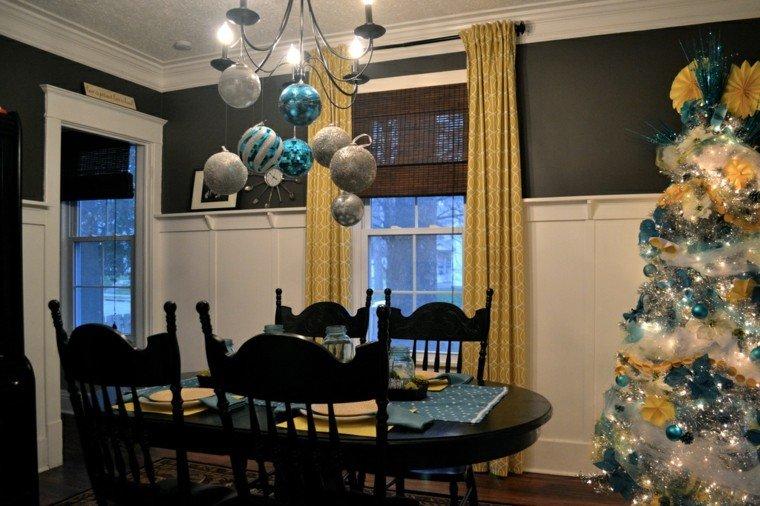 azul y plata ideas decoracion elegante lampara arbol