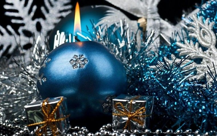azul y plata ideas decoracion elegante manzana velas